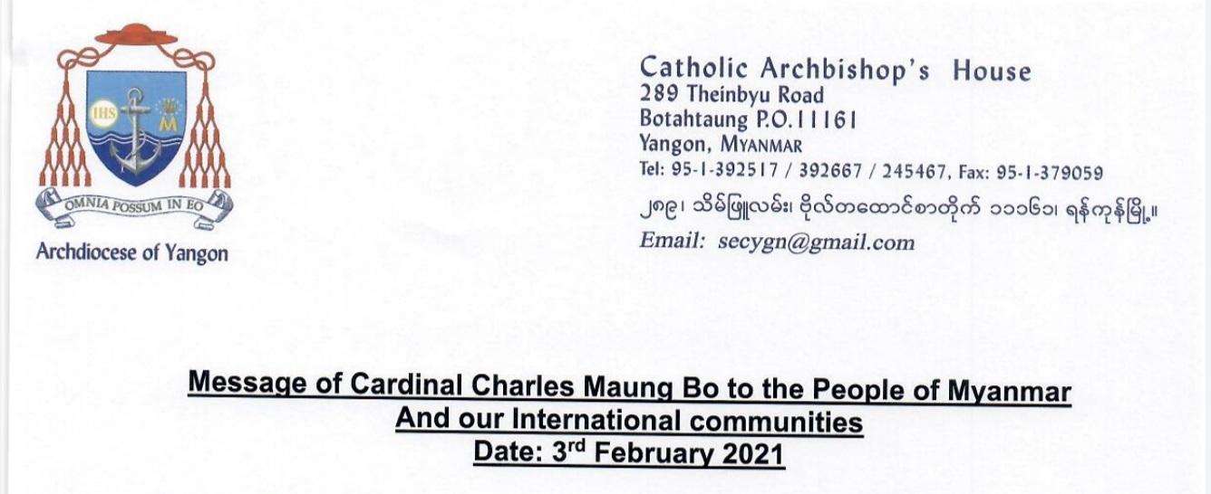 Carta del cardenal Bo